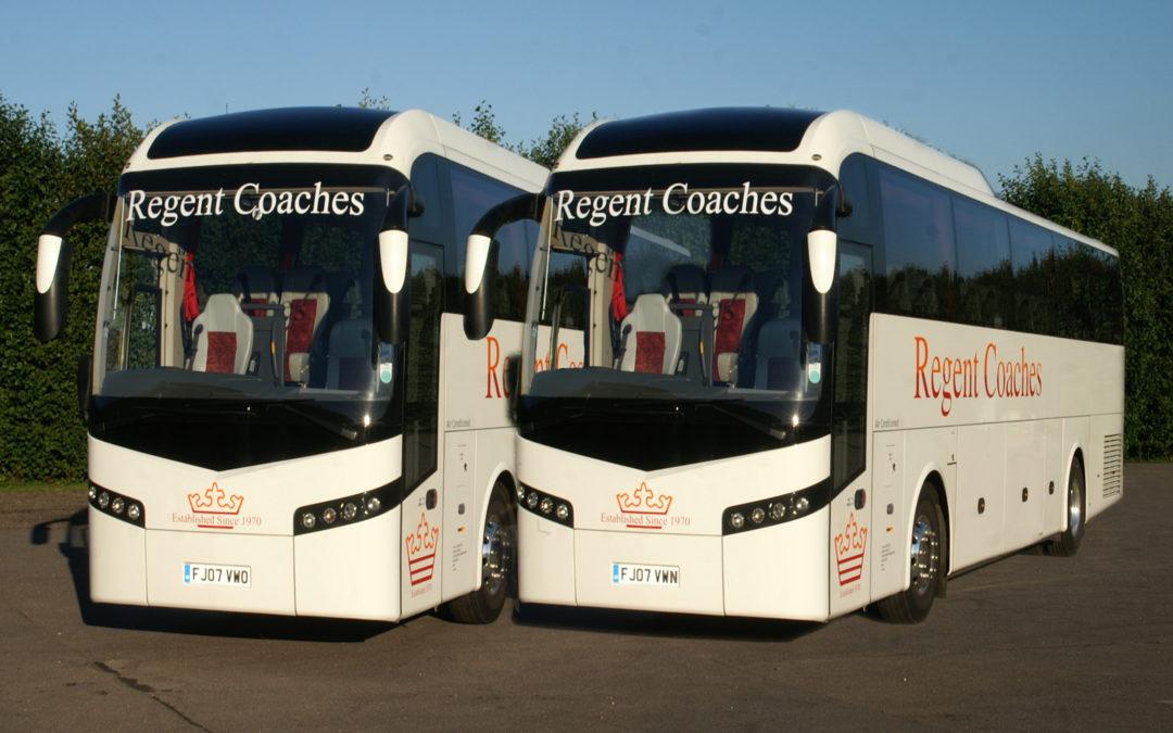 outside view of 2 of regent coaches, coach | Regent Coaches | Kent